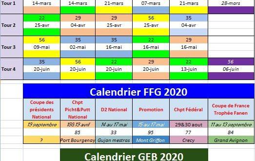 Dates des compétitions du GEB 2020